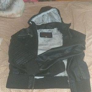 black heavy biker jacket